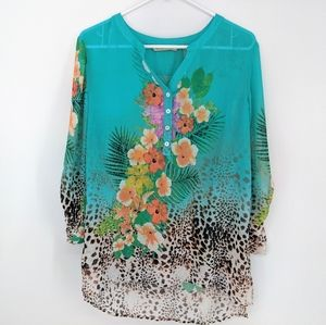 Soft Surroundings Floral Tropical Leopard Tunic